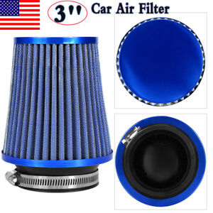 3 Car High Flow Cold Air Filter Intake Induction Kit Dry Type Mesh Cone Blue