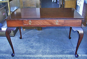 Antique British Mahogany Top Library Table With Drawer