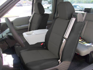 Ford F 150 04 08 Black Charcoal S Leather Front Seat Covers Built In Seatbelt