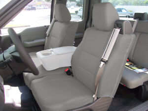 Ford F 150 04 08 S leather Front Custom Fit Seat Cover Built In Seat Belt Grey