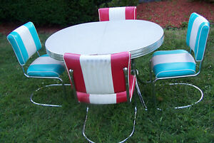 Set Of 4 Vintage 1950s Chairs W Reproduction Formica Table Vgc