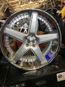 22 Inch Staggered Azad Az008 Silver Wheels And Tires Forgiato Asanti Dub Gm