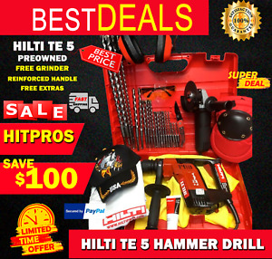 Hilti Te 5 Hammer Drill Preowned reinforced Handle Free Grinder fast Ship