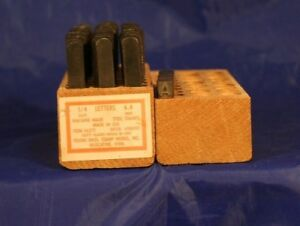 06271 1 4 Steel Letter Stamp Set Young Bros Stamp Work u s a Wood Box