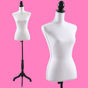 Female Mannequin Torso Dress Clothing Form Display W black Tripod Stand New
