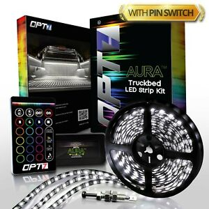 Opt7 8pc Led Truck Bed Lighting Kit 16 Color White Without Tailgate Pin Switch