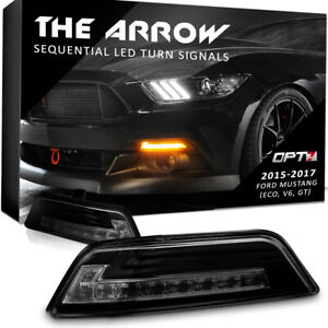 Front Led Turn Signal Pair For 15 17 Ford Mustang 6th Gen S550 Clear Sequential