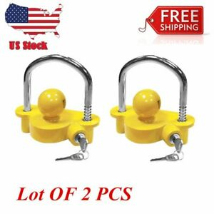 2pc Universal Trailer Hitch Coupler Lock Ball Tongue Steel 1 7 8 2 2 5 16 Bp2