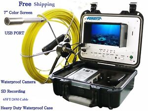 Sewer Drain Pipe 1 Snake Video Camera 65 Ft Cable 7 Color Display Usb Sd Rec
