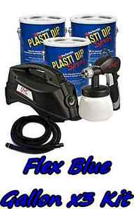3 Gallons Flex Blue Performix Plasti Dip Dyc Dipsprayer Gun Bundle Kit Package