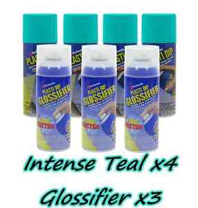 Performix Plasti Dip Gloss Wheel Kit 4 Intense Teal 3 Glossifier Aerosol Cans