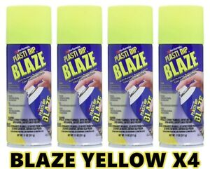 Performix Plasti Dip Blaze Yellow 4 Pack Rubber Coating Spray 11oz Aerosol Cans