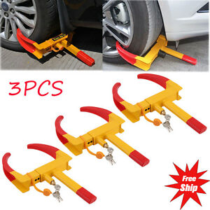 3x Wheel Lock Clamp Boot Tire Claw Trailer Auto Car Truck Anti Theft Towing Bp