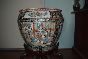 19th Century Chinese Famille Noire Qianglong Porcelin Fish Bowl Planter
