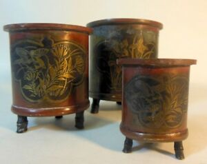 Rare Antique Set Of 3 Chinese Japanese Bronze Vases Brush Pots Inlaid Birds