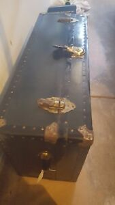 Vintage Black Steamer Trunk Flat Top Coffee Table Storage Vulcanized Military 2