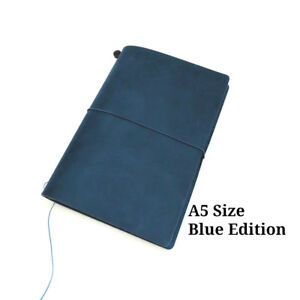 A5 Size Blue Travelers Notebook Hobonichi Cover Genuine Leather Diary
