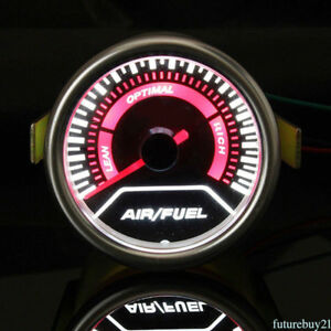 Professional 2 52mm Air Fuel Ratio Monitor Gauge Afr Meter White Led Auto Parts