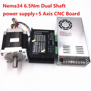 1 Axis Nema 34 Stepper Motor Dual Shaft 928oz in Cnc Stepper Kit power Supply