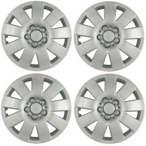 New 2003 2004 Toyota Corolla 15 9 spoke Hubcaps Wheelcover Silver Set Of 4