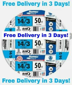 14 3 W ground Romex Indoor Electrical Wire 50 Feet all Lengths Available