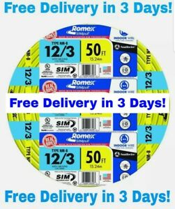 12 3 W ground Romex Indoor Electrical Wire 50 Feet all Lengths Available