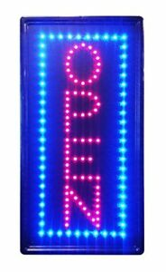 Led Neon Light Vertical Open W Motion Animation On off Switch Sign