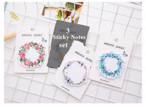 3 Pads Lot Flower Wreath Pattern Sticky Notes Stickers Memo Pads