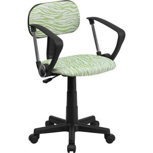 Flsh btzgnagg green And White Zebra Print Swivel Task Chair With Arms Bt z gn