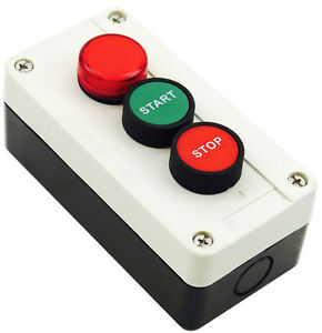 New Push Button Start Stop Station Control With Red 220vac Indicator Pilot Light