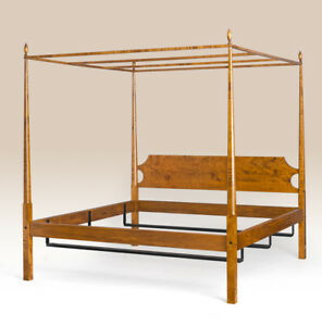 Shaker Style Full Size Canopy Poster Bed Frame Tiger Maple Wood Made In Usa New