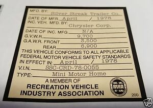 Chrysler Dodge Fargo Desoto Plymouth Recreation Vehicle Industry Association Tag