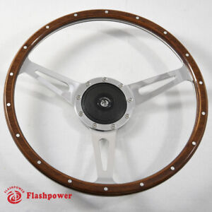 Classic Riveted Wood Grain Steering Wheel Restoration Custom Hot Rod Street Rod