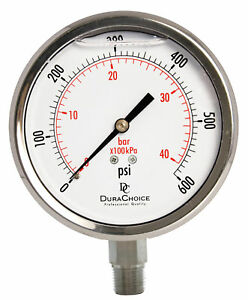 4 All Stainless Steel Pressure Gauge 3 8 Npt Lower Mnt 600psi