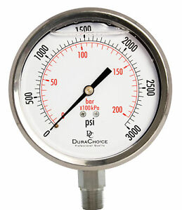 4 All Stainless Steel Pressure Gauge 3 8 Npt Lower Mnt 3000psi
