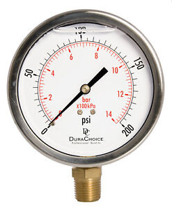 4 Pressure Gauge Stainless Steel Case Brass 1 2 Npt Lower Mnt 0 200psi