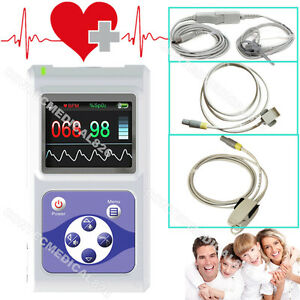 24 Hours Pulse Oximeter Spo2 Pulse Rate Monitor Infant Child Adult 3 Probes Usb