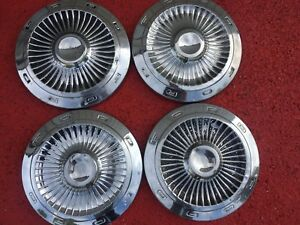 1963 Ford Galaxie 10 1 2 Inch Dog Dish Hubcaps Hub Cap Center Pieces Set Of 4