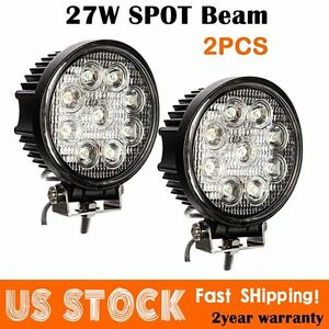 2x 4inch 27w Round Led Work Light Bar Spot Flood Offroad Driring Fog Lamp 12r Bp