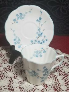 Rosina Bone China Teacup Tea Cup And Saucer Forget Me Not Flowers Blue