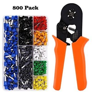 Crimp Tool Kit Ferrule Crimper Plier wire With 800pcs Wire Terminal Connector By