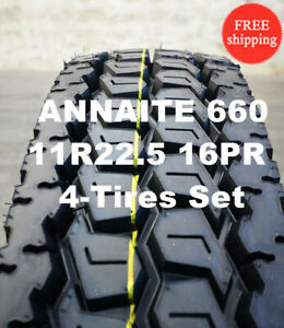 4 New 11r22 5 H 16pr 146 143m Annaite Closed Shoulder Rear Drive Truck Tires