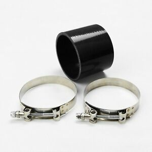 Black Straight Silicone Tubing Coupler Turbo Intake Hose 4 102mm T Bolt Clamps