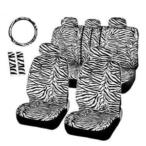 12pcs Seat Covers Set Steering Wheel Front Rear Seat Headrest Covers Zebra Style