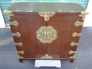 Antique Korean Chest Of Drawers With Brass Accents