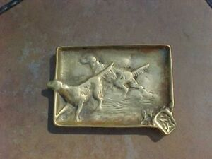 Original Antique Bronze Brass Ash Tray Dogs Setters