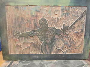 Spiderman Wood Block Printing Block 1971 141 2 By 10 On Plywood