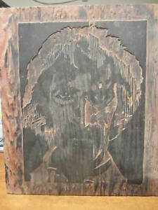 Frank Zappa Portrait Wood Block Printing Block 1971 14 By 12 On Plywood