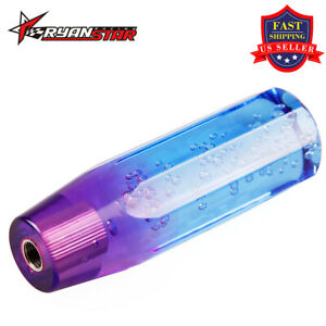 New 10cm Crystal Bubble Styling Shift Gear Knob Universal With Blue Purple