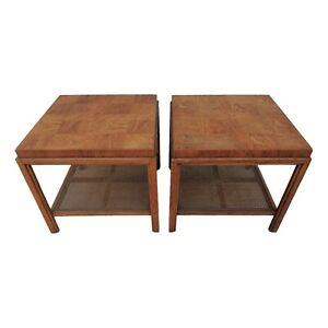 Vtg Pair Drexel Heritage Consensus End Tables Parquetry Cane Mid Century Modern